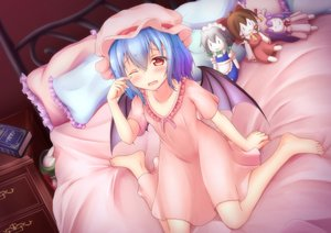 Rating: Safe Score: 40 Tags: barefoot bed blue_hair book doll dress fang hakurei_reimu hat hong_meiling izayoi_sakuya pajamas patchouli_knowledge red_eyes remilia_scarlet short_hair tagme_(artist) touhou vampire wings wink User: BattlequeenYume