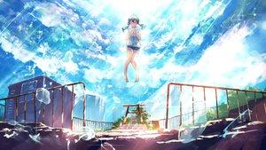 Rating: Safe Score: 31 Tags: amano_hina clouds goroku hoodie shorts sky tenki_no_ko torii twintails User: FormX