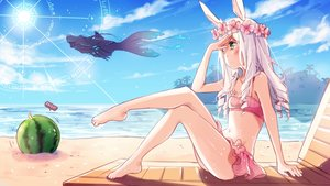 Rating: Safe Score: 152 Tags: animal_ears barefoot beach bikini bunny_ears elin fruit green_eyes magic pestoo swimsuit tera_online water watermelon white_hair User: mattiasc02
