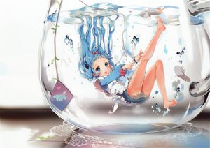 Rating: Safe Score: 340 Tags: anmi blue_eyes blue_hair bubbles original scan underwater water User: Wiresetc