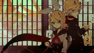Rating: Safe Score: 26 Tags: blonde_hair dark demon gray_eyes headband horns kagamine_len kagamine_rin male miwasiba pointed_ears scarf seifuku short_hair vocaloid User: otaku_emmy