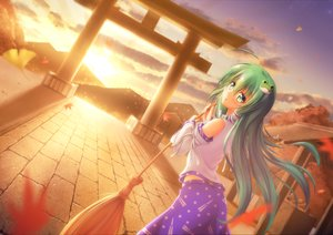 Rating: Safe Score: 33 Tags: autumn clouds green_eyes green_hair japanese_clothes kochiya_sanae leaves long_hair miko nullpuni sky sunset torii touhou User: RyuZU