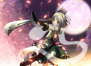 Rating: Safe Score: 164 Tags: blue_eyes bow gray_hair katana konpaku_youmu moon petals shiroi_karasu short_hair sword touhou weapon User: Dust