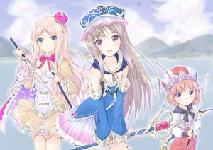 Rating: Safe Score: 56 Tags: atelier atelier_meruru atelier_rorona atelier_totori dress hat katana merurulince_rede_arls mirai_(macharge) rororina_fryxell sword totooria_helmold water weapon User: HawthorneKitty
