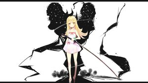 Rating: Safe Score: 202 Tags: bakemonogatari blonde_hair blush long_hair monogatari_(series) nisemonogatari oshino_shinobu ribbons sword weapon yellow_eyes User: bryci