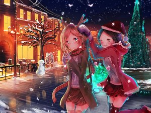 Rating: Safe Score: 60 Tags: blue_eyes brown_hair captainheadcandy christmas gloves hat scarf short_hair skirt snow snowman thighhighs tree wink User: humanpinka