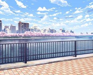 Rating: Safe Score: 57 Tags: building city clouds cropped nobody original realistic scenic sky tree water yonasawa User: RyuZU