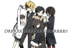 Rating: Safe Score: 15 Tags: black_hair blonde_hair braids cigarette durarara!! group heiwajima_kasuka heiwajima_shizuo long_hair orihara_izaya orihara_kururi orihara_mairu red_eyes short_hair skirt sunglasses wink User: Tensa