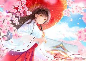 Rating: Safe Score: 9 Tags: akasaka_asa cherry_blossoms flowers japanese_clothes miko original umbrella User: BattlequeenYume