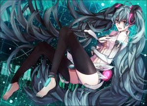 Rating: Safe Score: 44 Tags: aqua_eyes aqua_hair barefoot cyan hatsune_miku long_hair miku_append thighhighs tie twintails vocaloid User: humanpinka
