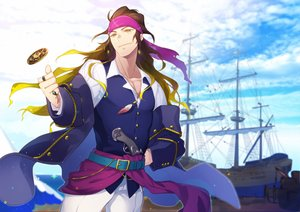 Rating: Safe Score: 8 Tags: all_male boat brown_hair clouds crise gun long_hair male original pirate pixiv_fantasia sky weapon yellow_eyes User: RyuZU
