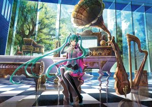 Rating: Safe Score: 237 Tags: aqua_eyes aqua_hair elbow_gloves fuji_choko gloves hatsune_miku headphones instrument long_hair piano reflection thighhighs twintails vocaloid User: FormX