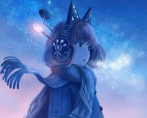 Rating: Safe Score: 69 Tags: animal_ears bou_nin brown_eyes brown_hair cropped headphones long_hair original scarf sky stars User: RyuZU
