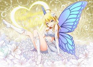 Rating: Safe Score: 155 Tags: blonde_hair boots flowers green_eyes hoshii_miki idolmaster jpeg_artifacts outsider_0 wings User: gnarf1975