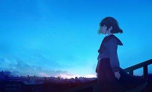 Rating: Safe Score: 52 Tags: black_eyes black_hair building city clouds mifuru original ruins scenic seifuku short_hair sky User: RyuZU