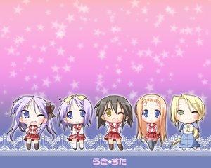Rating: Safe Score: 6 Tags: hiiragi_kagami hiiragi_tsukasa kuroi_nanako kusakabe_misao lucky_star minegishi_ayano User: Oyashiro-sama