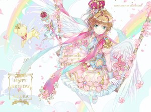 Rating: Safe Score: 34 Tags: animal bow brown_hair card_captor_sakura crown dress ekita_xuan flowers gloves green_eyes kero kinomoto_sakura petals rainbow short_hair tie wand watermark wings User: RyuZU