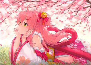 Rating: Safe Score: 123 Tags: bibimbub cherry_blossoms flowers green_eyes hololive japanese_clothes petals pink_hair sakura_miko User: Fepple