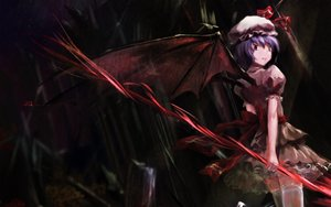 Rating: Safe Score: 57 Tags: dress hat jq purple_hair red_eyes remilia_scarlet ribbons short_hair signed thighhighs touhou vampire weapon wings User: Kumacuda
