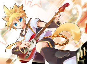 Rating: Safe Score: 10 Tags: animal_ears blonde_hair blue_eyes guitar instrument kagamine_len male porurin tail vocaloid User: HawthorneKitty