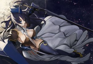 Rating: Safe Score: 11 Tags: armor black_hair blue_eyes dress hat long_hair moon original pupps sword thighhighs weapon User: FormX