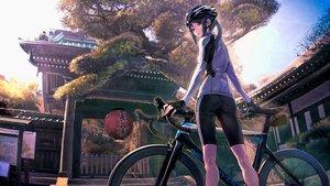 Rating: Safe Score: 120 Tags: ass bicycle bike_shorts black_eyes building gloves green_hair hat long_hair minami_kamakura_koukou_joshi_jitenshabu mori_shiki ponytail sabaku_no_tanuki scenic shorts sky tree User: BattlequeenYume
