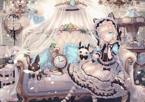 Rating: Safe Score: 97 Tags: blonde_hair blue_eyes bow bunny corset couch dress drink flowers headdress lolita_fashion long_hair original rose thighhighs yumeichigo_alice User: BattlequeenYume