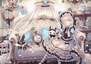 Rating: Safe Score: 97 Tags: blonde_hair blue_eyes bow bunny corset couch dress drink flowers headdress lolita_fashion long_hair original rose thighhighs yumeichigo_alice User: BattlequeenYume