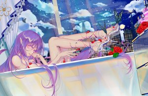 Rating: Questionable Score: 65 Tags: bath bathtub building butterfly city flowers long_hair nude original pointed_ears purple_hair rose user_dxyc7382 User: BattlequeenYume