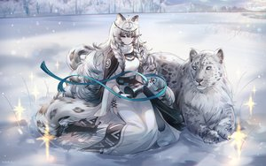 Rating: Safe Score: 157 Tags: animal animal_ears arknights bell blue_eyes boots braids cape catgirl dress gray_hair headdress long_hair necklace pramanix_(arknights) ribbons signed snow snow_is tail winter User: Dreista