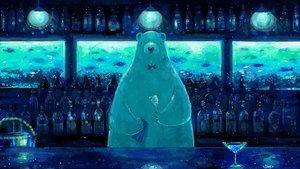 Rating: Safe Score: 145 Tags: animal bear blue bow drink fish monochrome nomiya_(no_38) original tie User: mattiasc02