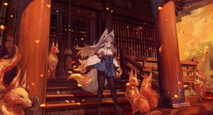 Rating: Safe Score: 60 Tags: animal animal_ears boots fire fox foxgirl gray_hair japanese_clothes long_hair miko original pantyhose red_eyes rope shrine stairs suzuno_(bookshelf) tail User: BattlequeenYume