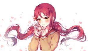 Rating: Safe Score: 38 Tags: blush food haruming long_hair love_live!_school_idol_project love_live!_sunshine!! orange_eyes petals red_hair sakurauchi_riko seifuku tears twintails User: RyuZU