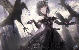Rating: Safe Score: 57 Tags: animal apple228 bird building choker clouds dress elbow_gloves feathers gloves goth-loli gray_eyes headdress lolita_fashion necklace original pink_eyes sky User: mattiasc02