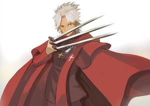 Rating: Safe Score: 11 Tags: all_male cape dark_skin fate/apocrypha fate_(series) gray_hair katagiri_(giri_77) male shirou_kotomine short_hair weapon yellow_eyes User: RyuZU