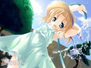 Rating: Safe Score: 7 Tags: blonde_hair blue_eyes chigi_hatsumi dress hat matsuyoigusa water User: Oyashiro-sama
