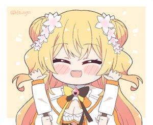 Rating: Safe Score: 25 Tags: blonde_hair blush bow breasts cleavage fang hololive kukie-nyan long_hair momosuzu_nene ribbons watermark User: otaku_emmy