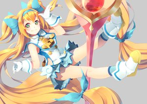 Rating: Safe Score: 85 Tags: blazblue blonde_hair gloves green_eyes headband long_hair necklace platinum_the_trinity ribbons socks twintails yoshino_ryou User: opai