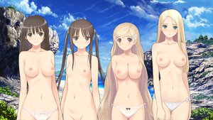 Rating: Questionable Score: 444 Tags: beach black_hair blonde_hair breasts date_wingfield_reiko fault hayama_rika long_hair nipples nude panties saeki_ai sugiyama_mio swimsuit taka_tony topless twintails underwear User: Wiresetc