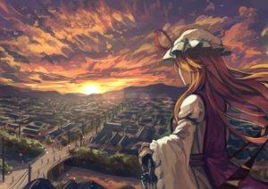 Rating: Safe Score: 17 Tags: bellabow blonde_hair building city clouds hat long_hair ribbons scenic sky sunset touhou umbrella yakumo_yukari User: RyuZU