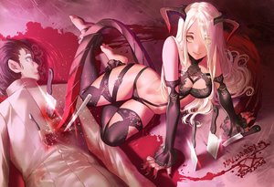 Rating: Questionable Score: 273 Tags: blonde_hair blood bra breasts cleavage demon fang halloween horns knife long_hair male original panties salmon88 signed stockings tail thighhighs underwear yellow_eyes User: luckyluna