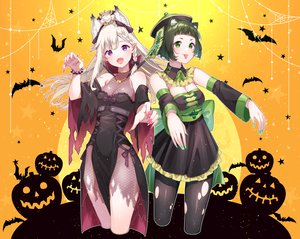 Rating: Safe Score: 53 Tags: 2girls aliasing animal animal_ears animare bat braids breasts chinese_clothes chitetan cleavage cosplay doggirl dress fang foxgirl gray_hair green_eyes green_hair halloween hashiba_natsumi ofuda pointed_ears pumpkin shiromiya_mimi short_hair silhouette torn_clothes vampire wristwear User: BattlequeenYume