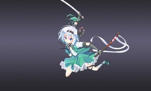 Rating: Safe Score: 11 Tags: blue_eyes elbow_gloves gloves gradient gray gray_hair headband jpeg_artifacts katana kneehighs konpaku_youmu short_hair skirt sword touhou weapon z.o.b User: RyuZU