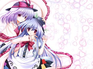 Rating: Safe Score: 16 Tags: 2girls blue_hair blush dress hat hinanawi_tenshi hiyori-o long_hair nagae_iku purple_hair red_eyes ribbons short_hair touhou User: Tensa