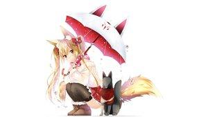 Rating: Safe Score: 179 Tags: animal_ears foxgirl original tail thighhighs umbrella usagihime white User: mattiasc02