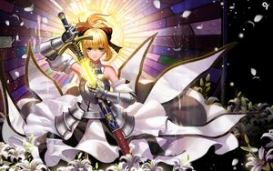 Rating: Safe Score: 181 Tags: armor blonde_hair fate_(series) fate/stay_night fate/unlimited_codes flowers green_eyes liang_xing saber saber_lily sword weapon User: Flandre93