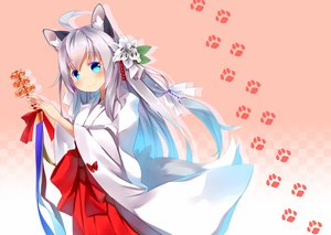 Rating: Safe Score: 26 Tags: aliasing animal_ears aqua_eyes autumn_dawn blush bow flowers foxgirl japanese_clothes long_hair miko original tail white_hair User: RyuZU