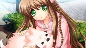 Rating: Safe Score: 40 Tags: animal braids brown_hair game_cg green_eyes hinoue_itaru kanbe_kotori long_hair rewrite User: dhh11
