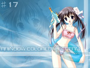 Rating: Safe Score: 6 Tags: brown_hair nanao_naru purple_eyes rainbow_colored_icecream swimsuit User: Zero