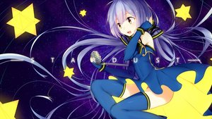 Rating: Safe Score: 22 Tags: blue_hair elbow_gloves gloves jie_(pixiv6108778) long_hair microphone stars thighhighs twintails vocaloid xingchen yellow_eyes User: sadodere-chan